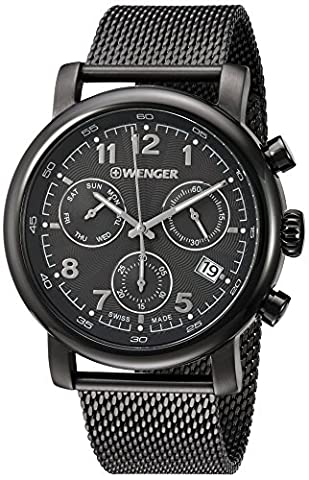 Wenger Men's 'Urban Classic Chrono' Swiss Quartz Stainless Steel Casual Watch, Color:Grey (Model: - Chrono Classic Ladies Watch