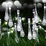Williamtai 30 LED Solar Outdoor String Lights, 20ft/6m Solar Powered Garden Lights Water Drop LED Fairy Lights Outside Garden Camping Patio Christmas Party Celebration Decorative Lights (White)