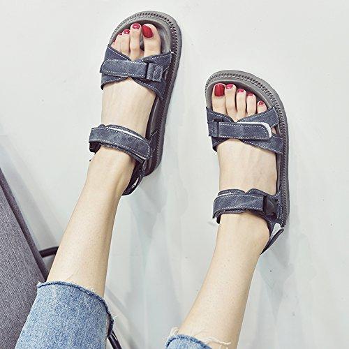 YMFIE da spiaggia fondo green medie piatto basse Onorevoli antiskid moda casual confortevoli sandali e toe scarpe a g6TqgRw