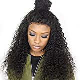 Brazilian Remy Hair 130% Density Full Pre Plucked Natural Hairline Loose Deep Curly Long Human Hair Lace Front Wigs for African American Black Women Black Women with Baby Hair 16inch