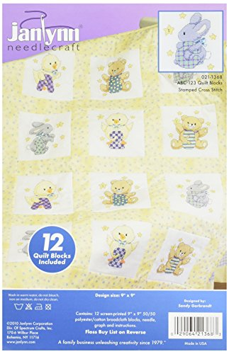 Janlynn Stamped ABC 123 Quilt Blocks