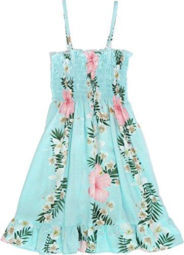 RJC Girl's Sunrise Lei Hawaiian Smocked Ruffle Rayon Dress Aqua 6X