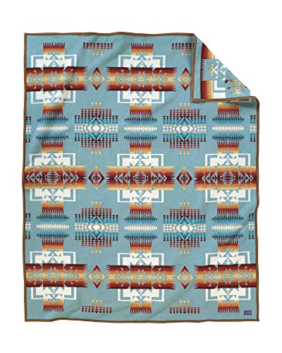 Pendleton Chief Joseph Wool Blanket, Aqua, Queen Size