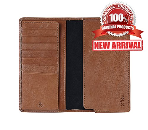Toffee Genuine Leather iPhone Wallet Case Credit Card Holder Hard Sleeve Case Slim Fit Flip Cover Protective Shell with Flap, Tan