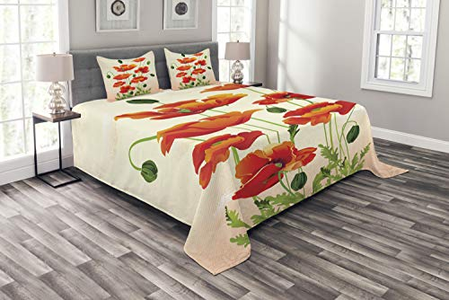 Ambesonne Poppy Bedspread Set Queen Size, Flower Bouquet with Coming of The Spring Theme Nature Growth Arrangement, 3 Piece Decorative Quilted Coverlet with 2 Pillow Shams, Vermilion Cream