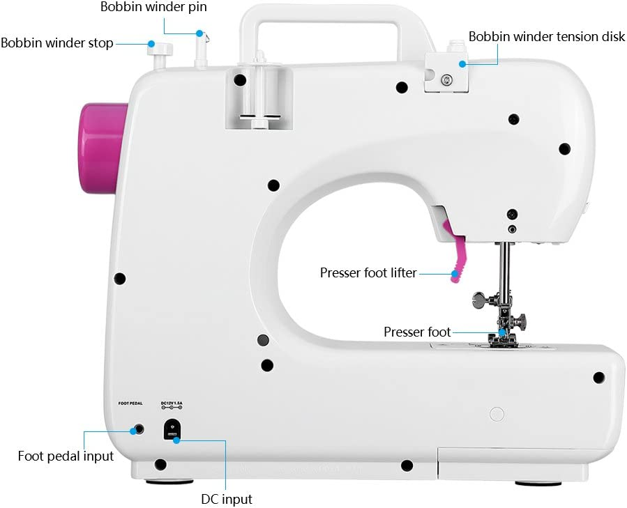 Uten máquina de coser eléctrica para principiantes, 16 puntos ...