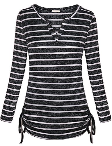 Nomorer Casual Shirts for Women, Ladies Long Sleeve Tops Stripe Color Jersey Blouse Flexible Chic Graceful Suave Beach Vacation Shopping Autumn Tops (White, L)