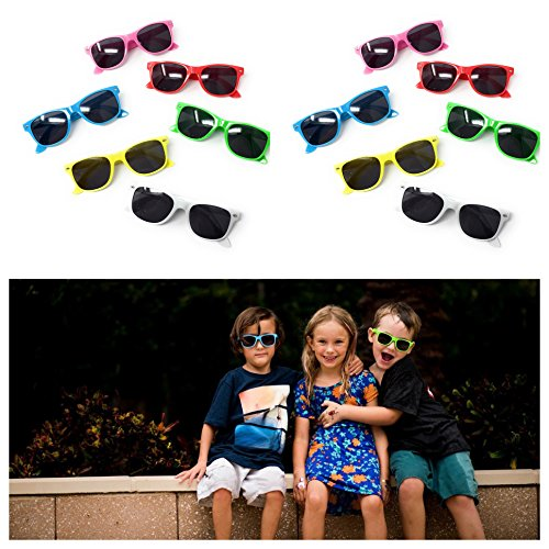 Kids Sunglasses (12 Pack) – 100% UV Protection for The Beach, Pool and Outdoor Activities - Reduces Glare and Eye Strain - Wayfarer Style Glasses - Best for Party Favors - Protection Uv 100 Meaning