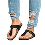 FISACE Womens Braided Flip Flop Sandals Casual T-Strap Ankle Buckle Flat Sandal Shoes