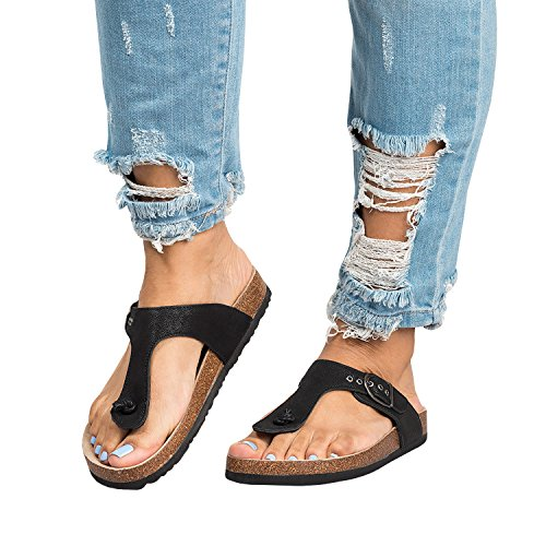 Liyuandian Womens Mayari Sandals Summer Leather Flat Braid T-strap Flip ()