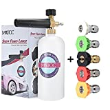 MATCC Adjustable Foam Cannon 33 fl. oz (1Liter) Bottle Snow Foam Lance with 1/4'' Quick Connector Foam Blaster, 5 Pressure Washer Nozzles for Cleaning