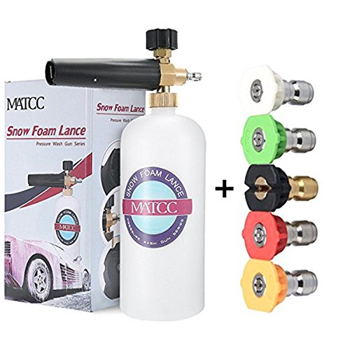MATCC Adjustable Foam Cannon 33 fl. oz (1Liter) Bottle Snow Foam Lance With 1/4'' Quick Connector, 5 Pressure Washer Nozzles for Cleaning by MATCC