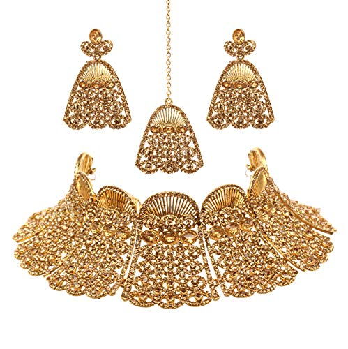(Bindhani Women's Indian Jewelry Heavy Look Bridal Wedding Party Wear Crafted Brides Fashion Gold Plated Kundan Choker Necklace Earrings Tikka Bollywood Style Jewellery Tika Set for Bridemaids )