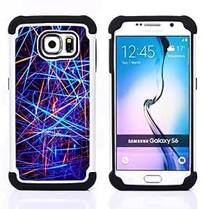 - Abstract Neon Lines/ H??brido 3in1 Deluxe Impreso duro Soft Alto Impacto caja de la armadura Defender - SHIMIN CAO - For Samsung Galaxy S6 G9200