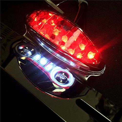 HK Group Motorcycel Chrome Smoke LEDIntegratedAll-in-one TaillightLicensePlateLightPlate HolderForATV off-Road Suzuki Yamaha