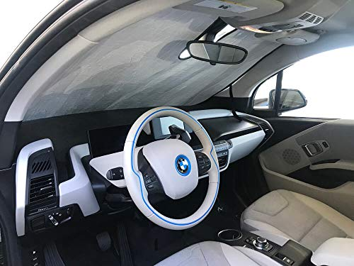 The Original Windshield Sun Shade, Custom-Fit for BMW i3 Hatchback (5D) w/o Sensor 2014, 2015, 2016, 2017, 2018, 2019, Silver Series