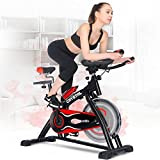 SWM Indoor Cycling Bikes Spin Bikes with LCD Monitor and Free Bottle Trainer Bicycle Stationary Fitness Equipment (Black & Red) Review