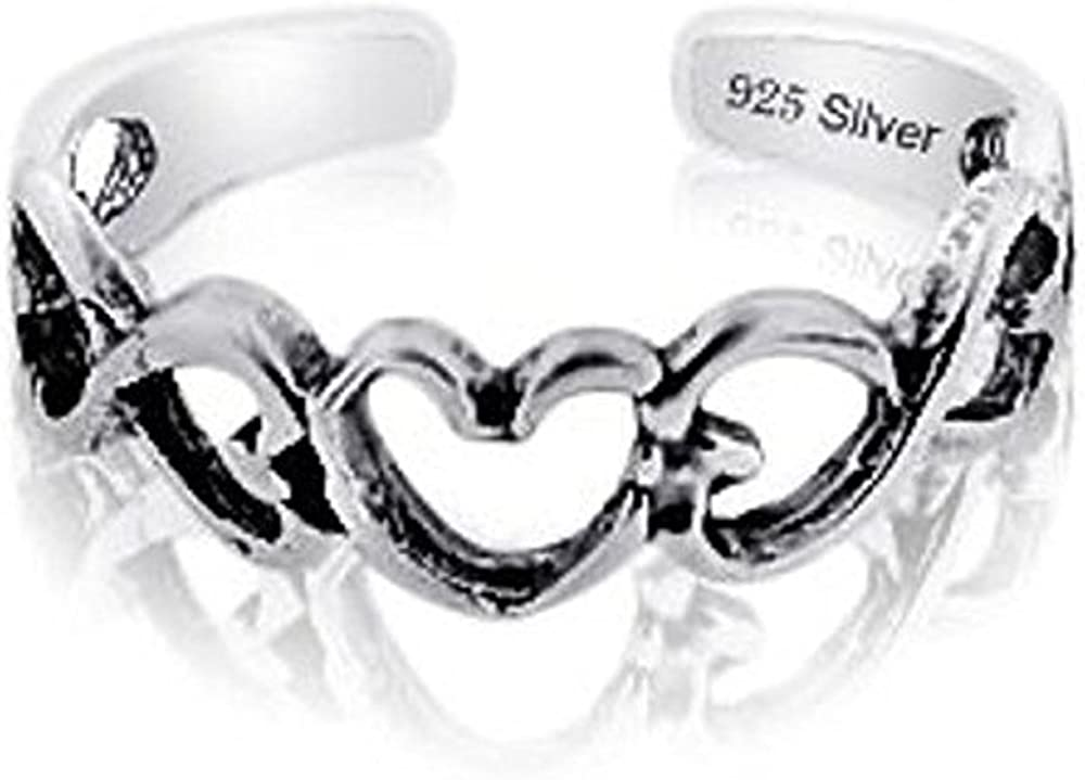 Sterling Silver 925 Flower /& Hearts Toe Ring Band Adjustable Heart