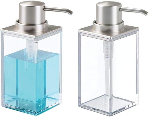 mDesign Juego de 2 dosificadores de jabón rectangulares y ...