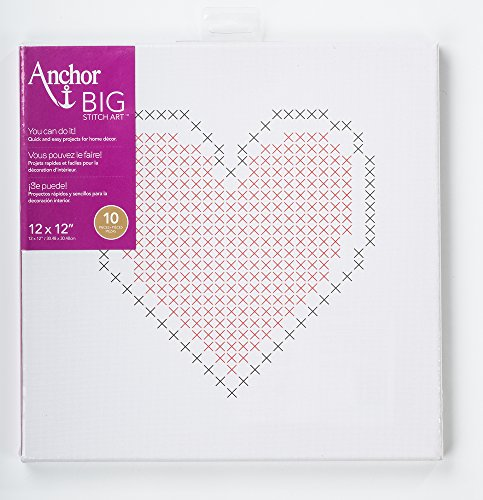 Anchor Big Stitch Counted Cross-Stitch Kit w/ Embroidery Floss Heart, 12