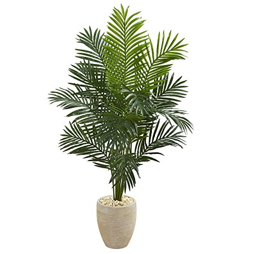 Nearly Natural 5641 5.5' Paradise Palm Tree in Sand Colored Planter Artificial Plant, - Paradise Sand