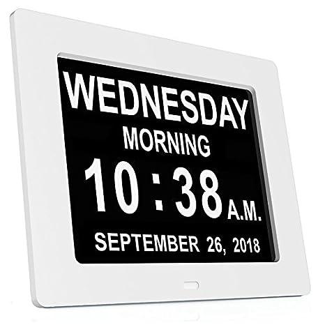 cadrim 8 pulgadas reloj digital calendario con fecha despertador en 8 idiomas nationales luminosidad ajustable relojes y relojes Alarm Clock mejor regalo ...