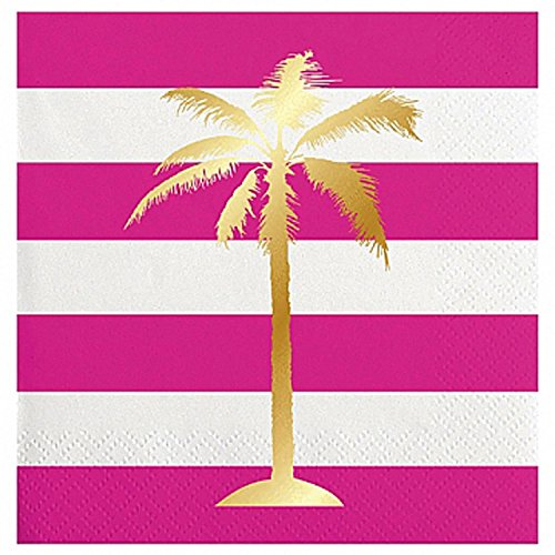 Slant Collections Fuchsia White Stripe Gold Palm Tree beverage napkins