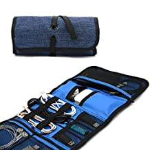 Patu Roll Up Folding Travel Organizer Case for Cables, Memory Cards, Flash Disks, Earphones, Portable Hard Drives, Power Banks or Adapters, or Other Small Electronics and Accessories, Black & Navy