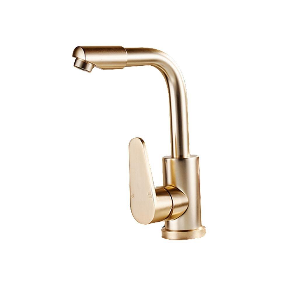 Küchenarmatur gedreht Einzigen Handgriff Einloch Raum Aluminium Material Waschbecken Wasserhahn Gold , Gold