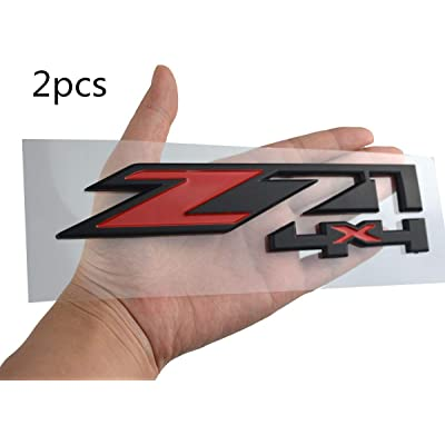 2 Pack Z71 4x4 Emblems Badges Compatible for GMC Chevy Silverado Sierra Tahoe Suburban 1500 2500hd 3500hd Decal (Red/Black): Automotive