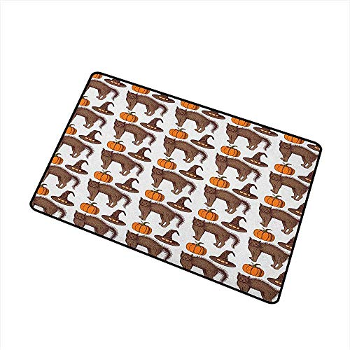 Wang Hai Chuan Halloween Front Door mat Carpet Seasonal Vintage Pattern with Pumpkin Squash Witch Hats and Cat Figures Machine Washable Door mat W15.7 x L23.6 Inch Brown Orange -