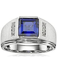 Men's Sterling Silver Square Created Ceylon Sapphire and Diamond Gents Ring, Size 10.5