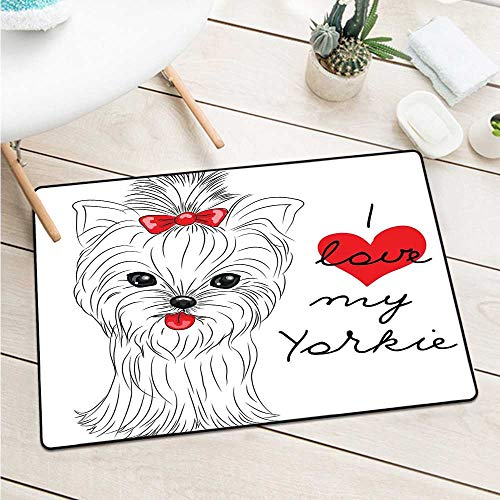 Custom&blanket Yorkie Front Door Mat Carpet Love My Yorkie Cute Terrier with Its Tounge Out Adorable Yorkshire Terrier Door Mat Floor Decoration (W23.6 X L35.4 inch,Black White Red)