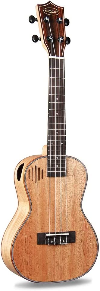 Miiliedy Personalidad Creativo Agujero de sonido Ukulele 23 pulgadas Principiante Adultos Autoestudio Práctica Mini Nylon Guitarra de cuatro cuerdas con mochila Correas Paño de pulido Cuerdas