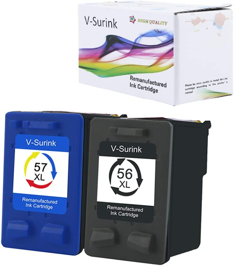 V-Surink Remanufactured Ink Cartridge Replacement for Hp 56XL 57XL (1 Black, 1 Color) Used in HP Deskjet 5150 5550 5650 5850 Photosmart 7260 7350 7450 7550 7660 7760 7960 Officejet 4215 PSC 1210 Print