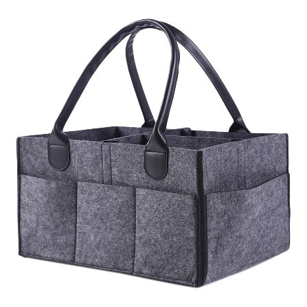 Mumsycare Diaper Caddy - Car Travel Bag - All In One Changing Station For Newborn and Tott - Grey Felt Organizer with Black Leather Handles - 8 Pouches On Side Storage Holder for Small Baby Toys