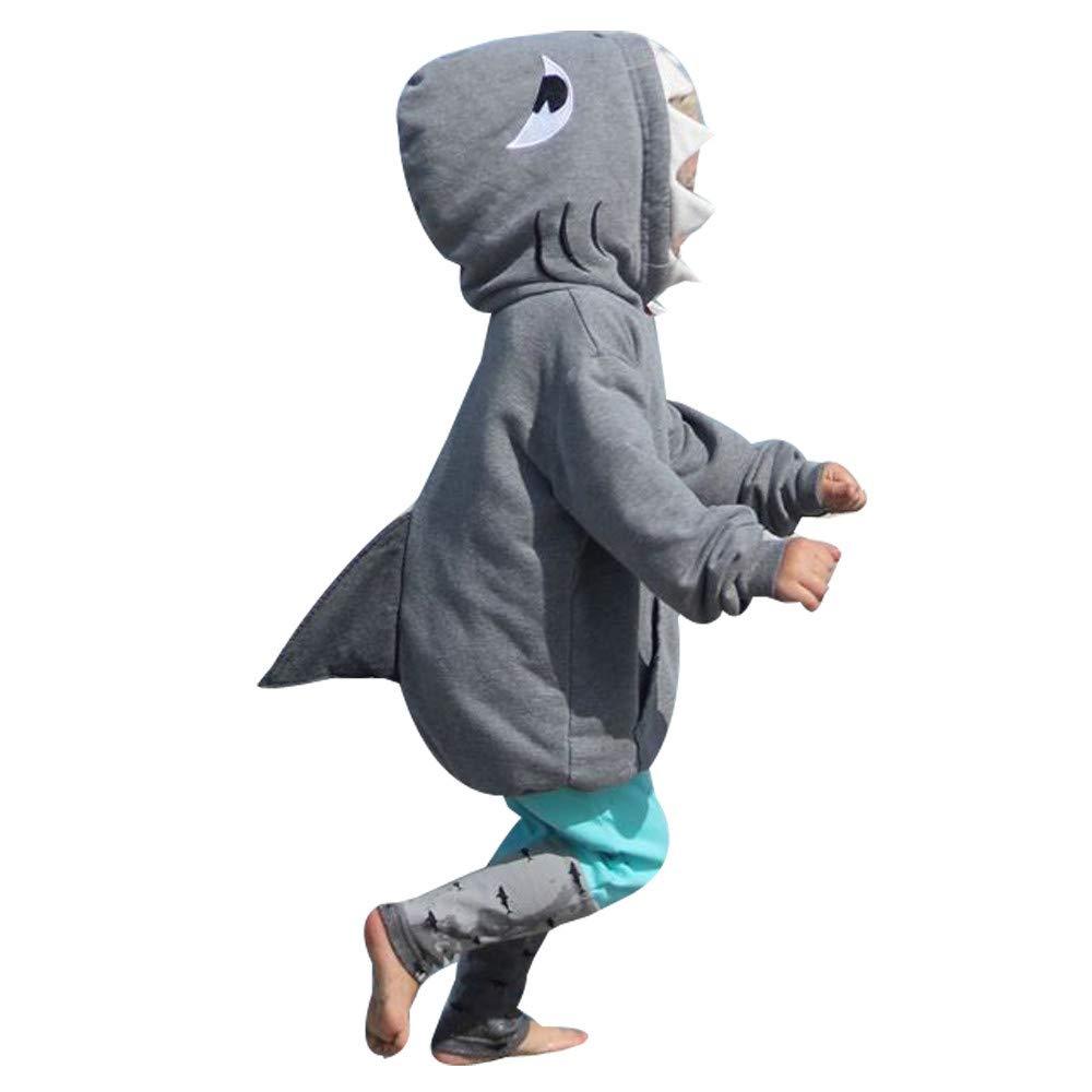 Matoen Kid Baby Girl Boy 3D Cartoon Hoodie Shark T Shirt Tops+Pants Clothes Set