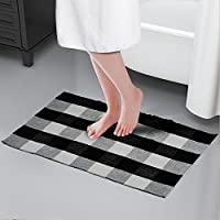 Winwinplus 100% Cotton black and white area rug,Throw Rugs,23.6x51.1,Plaid rug for bathroom/living room/lounge