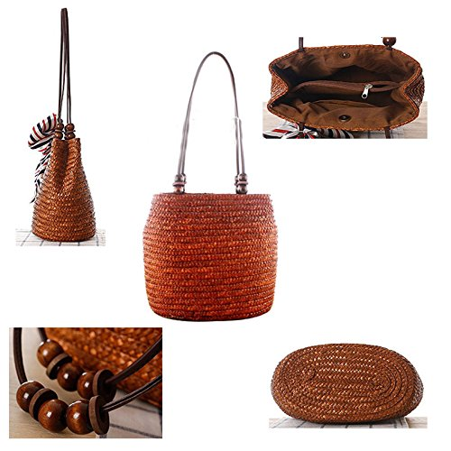 Letter Handbag Beach Shoulder Girl Bucket Hasp D Straw Abuyall Summer Tote Bag Woven Vacation Beading zqU14nOxf