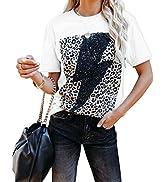 REVETRO Women's Lightning Leopard Print Graphic T Shirt Short Sleeve Casual Summer Tops Blouse