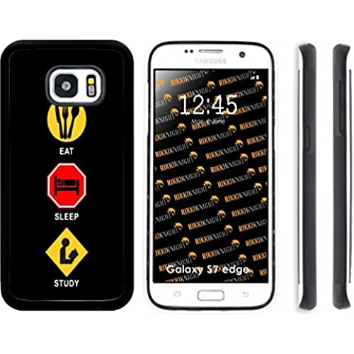 Rikki Knight Eat Sleep Study Design Samsung Galaxy S7 Edge Case Cover (Black Rubber with front Bumper Protection) for Samsung Galaxy S7 Edge ONLY Sales