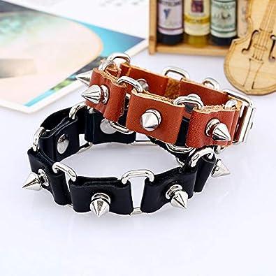 URUHR Punk Black Brown Color Leather Alloy Rivet Bracelet for Men Boys