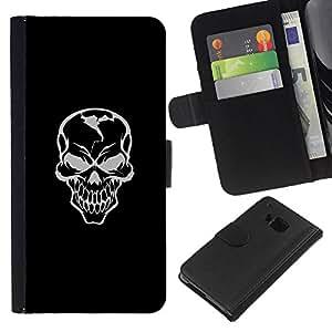 KLONGSHOP // Tirón de la caja Cartera de cuero con ranuras para tarjetas - Mal Habilidad Gray Griñán - HTC One M9 //