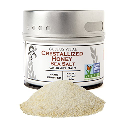 Crystallized Honey (Crystallized Honey Sea Salt | Non GMO Verified | Magnetic Tin | 3.0oz | Artisan Finishing Salt | Crafted in Small Batches by Gustus Vitae | #15)