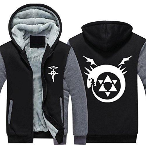 Poetic Walk Fullmetal Alchemist Cosplay Thick Jacket Coat (Large, Black02-Gray)