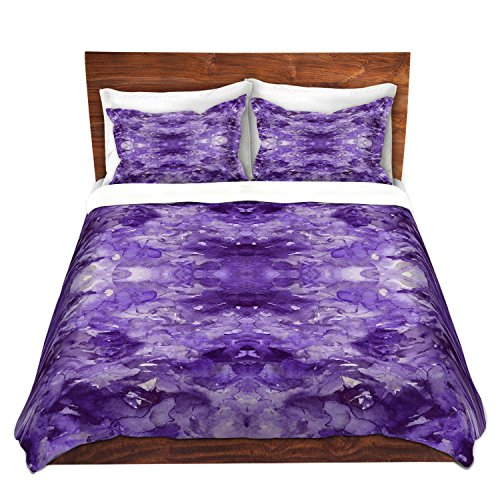 Duvet Cover Brushed Twill Twin, Queen, King Sets DiaNoche Designs by Artist Julia Di Sano - Tie Dye Helix Purple Home Decor, Bedroom and Bedding Ideas