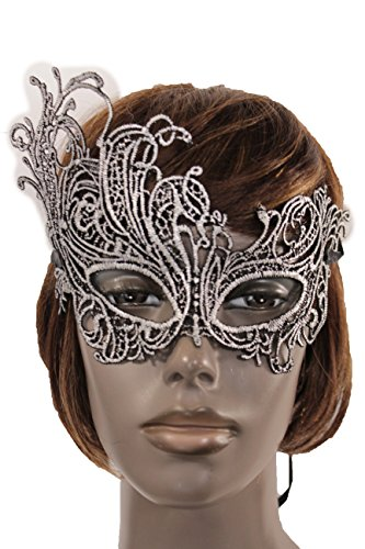 Online Halloween Costume Contests 2016 (TFJ Women MEn Halloween Half Face Eye Fabric Mask Fashion Costume Black Filigree Silver Flower Leaves)