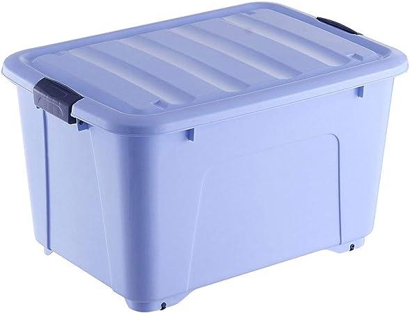 HUIQI Caja almacenaje Caja De Plástico Grande con 6 Rueda De Almacenamiento del Compartimiento 350 litros 54,5 * 67 * 95 Cm (Azul) Cajas almacenaje plastico (Color : Blue): Amazon.es: Hogar