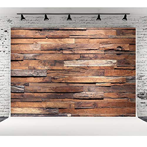 (Wood Floor Photography Backdrops for Photographers Seamless Cloth Brown Wooden Photo Background Photo Studio Booth 10x6.5ft)