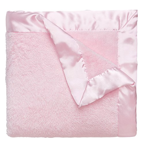 Elegant Baby Ultra Plush Blanket, Satin Border Blanket 36 x 45 Inch in Pastel Pink (Border Baby Pink)
